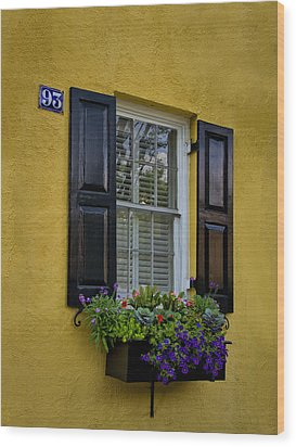 Shutters And Window Boxes Wood Print by Sandra Anderson