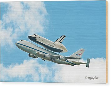 Shuttle Enterprise Comes To Ny Wood Print by Regina Geoghan