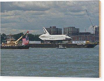 Shuttle Enterprise Flag Escort Wood Print by Gary Eason