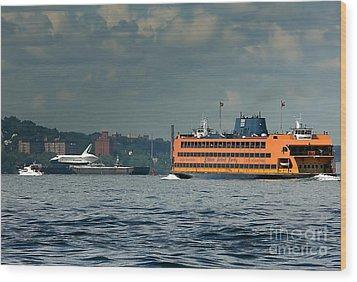 Shuttle Enterprise Glides Past Staten Island Ferry Wood Print by Tom Callan