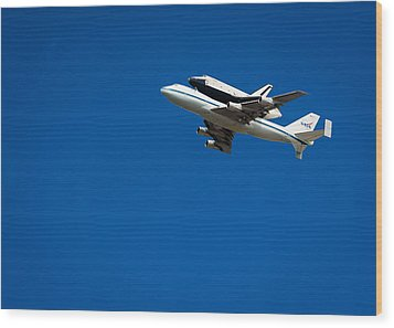 Shuttle Enterprise Through A Clear Sky Wood Print by Anthony S Torres