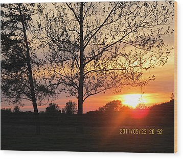 Wood Print featuring the photograph Shy Sunset by Tina M Wenger