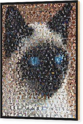 Siamese Cat Mosaic Wood Print by Paul Van Scott