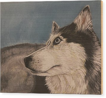 Wood Print featuring the drawing Siberian Husky by Robert Decker