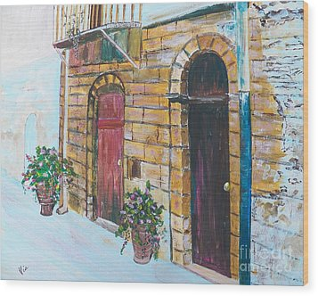 Sicilian Home Wood Print by Judy Via-Wolff