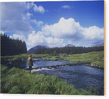 Side Profile Of A Man Fly-fishing In A Wood Print by The Irish Image Collection
