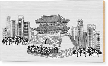 Side View Of Pagoda And Trees, Skyscrapers In Background Wood Print by Eastnine Inc.