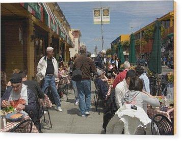 Sidewalk Cafe Wood Print