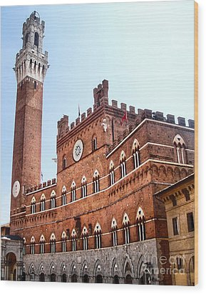 Siena Italy - Torre Del Mangia Wood Print by Gregory Dyer