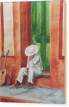 Wood Print featuring the painting Siesta Time by Tom Riggs