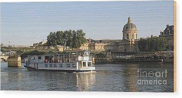 Sightseeing Boat On River Seine. Paris Wood Print by Bernard Jaubert