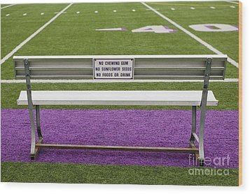 Sign On Athletic Field Bench Wood Print by Andersen Ross