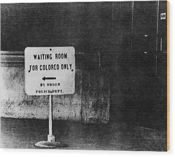 Sign Reading Waiting Room For Colored Wood Print by Everett