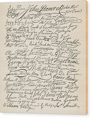 Signatures Attached To The American Declaration Of Independence Of 1776 Wood Print by Founding Fathers