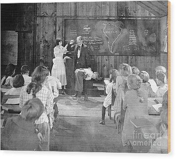 Silent Film Still: School Wood Print by Granger
