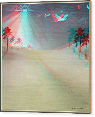 Silent Night - Red And Cyan 3d Glasses Required Wood Print by Brian Wallace