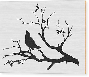Silhouette: Bird On Branch Wood Print by Granger