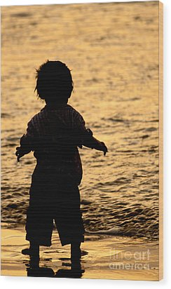 Silhouette Of A Child 1 Wood Print by Carole Lloyd