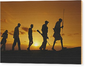 Silhouette Of Laikipia Masai Guides Wood Print by Richard Nowitz