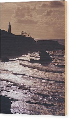 Silhouette Of Lighthouse Wood Print by Craig Tuttle