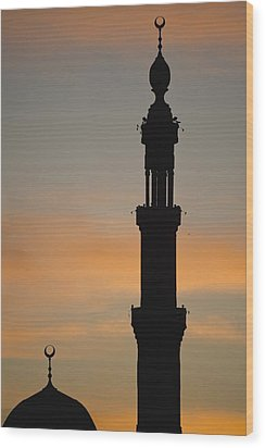 Silhouette Of Mosque At Dawn Wood Print by Axiom Photographic