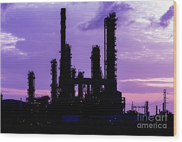 Silhouette Of Oil Refinery Plant At Twilight Morning Wood Print by Mongkol Chakritthakool