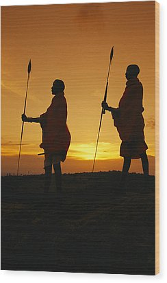 Silhouetted Laikipia Masai Guides Wood Print by Richard Nowitz