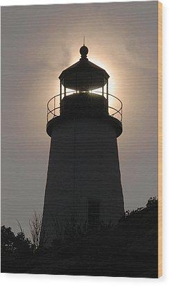 Silhouetted Pemaquid Lighthouse Wood Print by Darlyne A. Murawski
