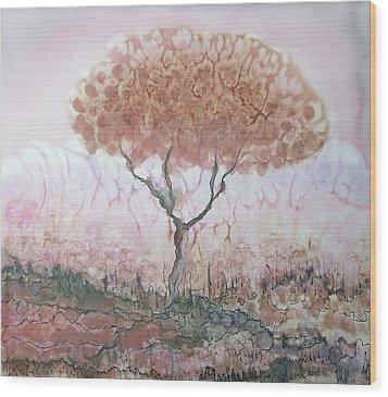 Silk Tree In Brown And Purple  Wood Print by Rachel Hershkovitz