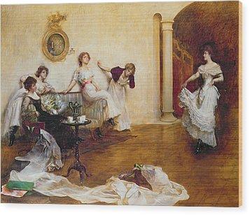 Silks And Satins Wood Print by Albert Chevallier Tayler