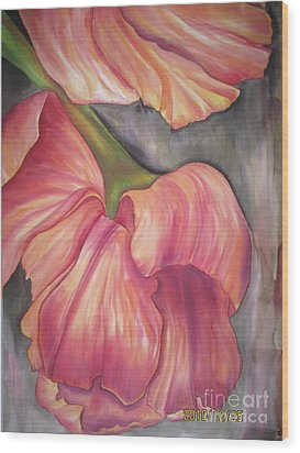Silky Tulips Wood Print by Husna Rafath