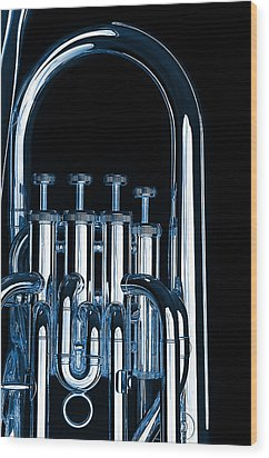 Silver Bass Tuba Euphonium On Black Wood Print