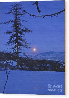 Silver-blue Moon Wood Print