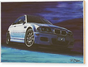 Wood Print featuring the painting Silver Bmw M3 by Rod Seel