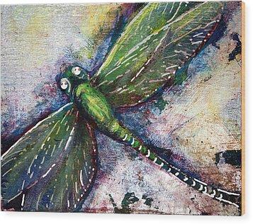 Silver Dragonfly Wood Print