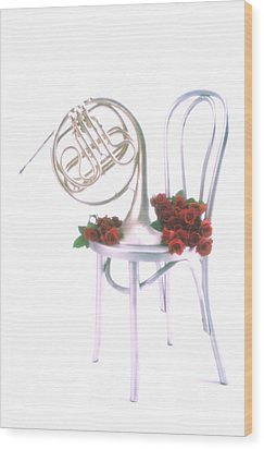 Silver French Horn On Silver Chair Wood Print by Garry Gay