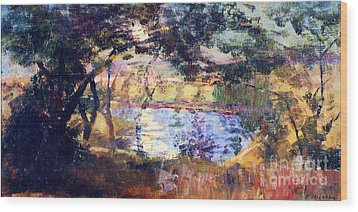 Silver  Moonlight Wood Print by Pg Reproductions