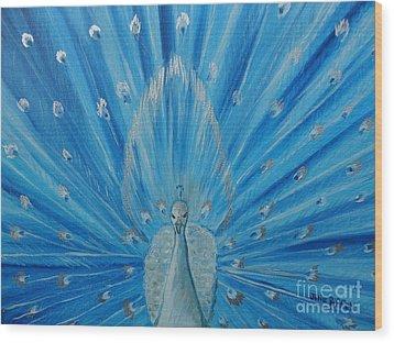 Silver Peacock Wood Print by Julie Brugh Riffey