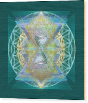 Silver Torquoise Chalice Matrix Subtly Lavender Lit On Gold N Blue N Green With Teal Wood Print