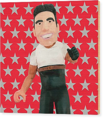 Simon Cowell Wood Print by Louisa Houchen