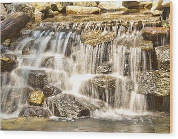 Simple Yet Powerful Waterfall Wood Print by Daphne Sampson