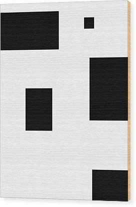 Simply Black Blocks Sbb Wood Print by Steve K
