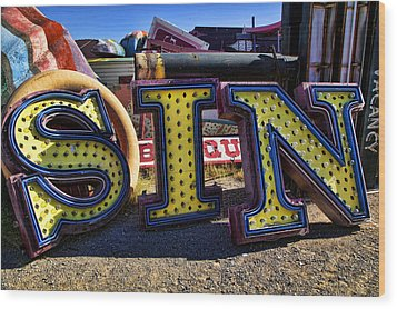 Sin Sign Wood Print by Garry Gay