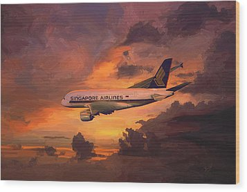 Wood Print featuring the painting Singapore Airlines A380 by Nop Briex