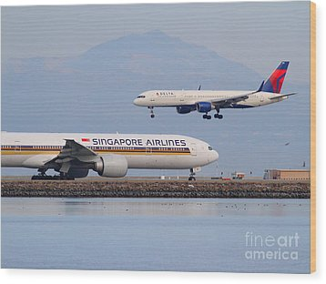 Singapore Airlines And Delta Airlines Jet Airplane At San Francisco International Airport Sfo Wood Print by Wingsdomain Art and Photography