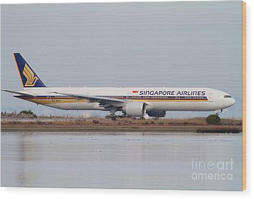 Singapore Airlines Jet Airplane At San Francisco International Airport Sfo . 7d12142 Wood Print by Wingsdomain Art and Photography