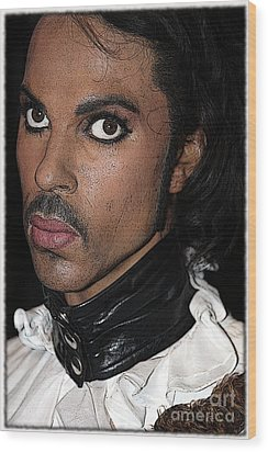 Singer Prince Cartoon Wood Print by Sophie Vigneault