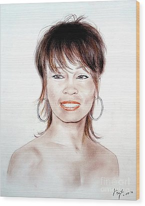 Wood Print featuring the drawing Singing Beauty Whitney Houston by Jim Fitzpatrick