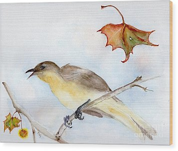 Wood Print featuring the painting Singing Bird In Sycamore by Doris Blessington