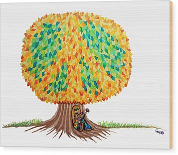 Singing Under The Peace Tree Wood Print by Nick Gustafson